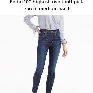 "J. Crew petite 10"" highrise toothpicks medium wash"